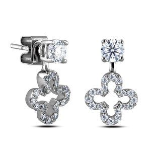 4 ct Sparkling round brilliant diamonds lady studs